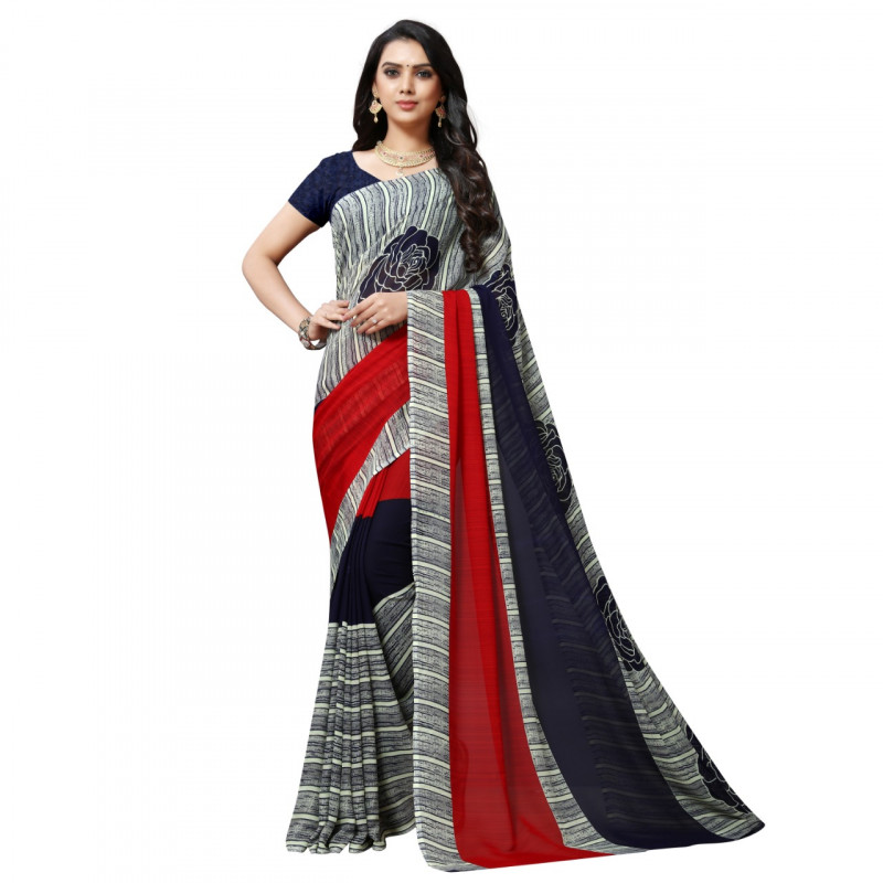 Shaded Grey Faux Georgette Saree