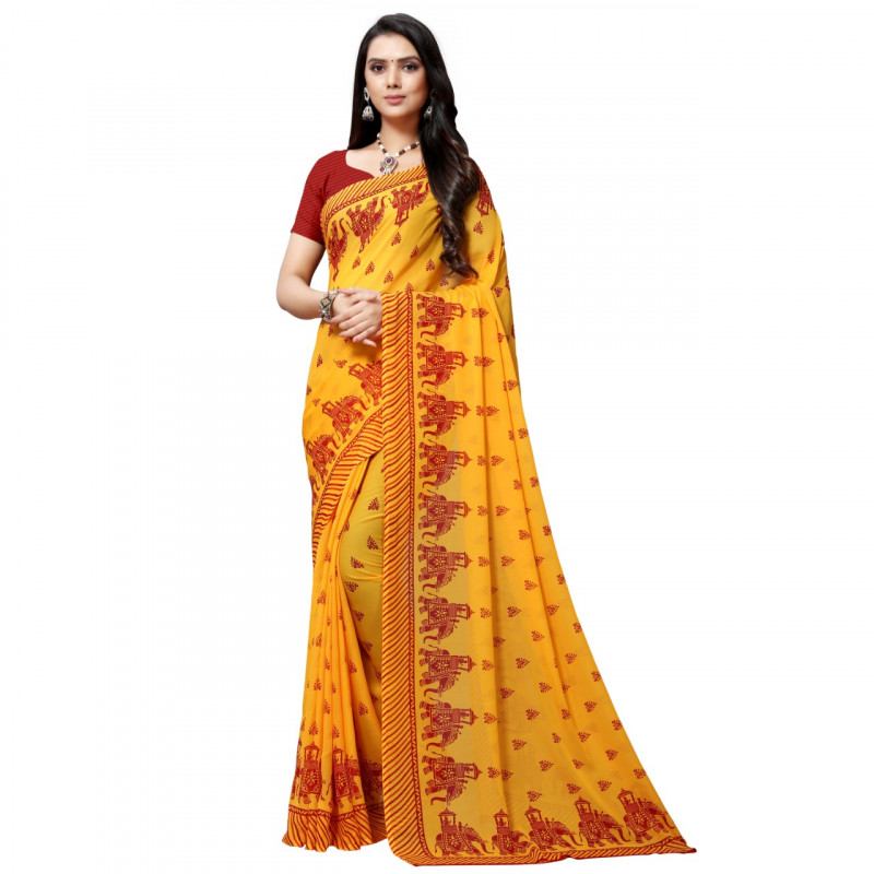 Yellow Coloured Maharaja Red Design Faux Georgette Saree