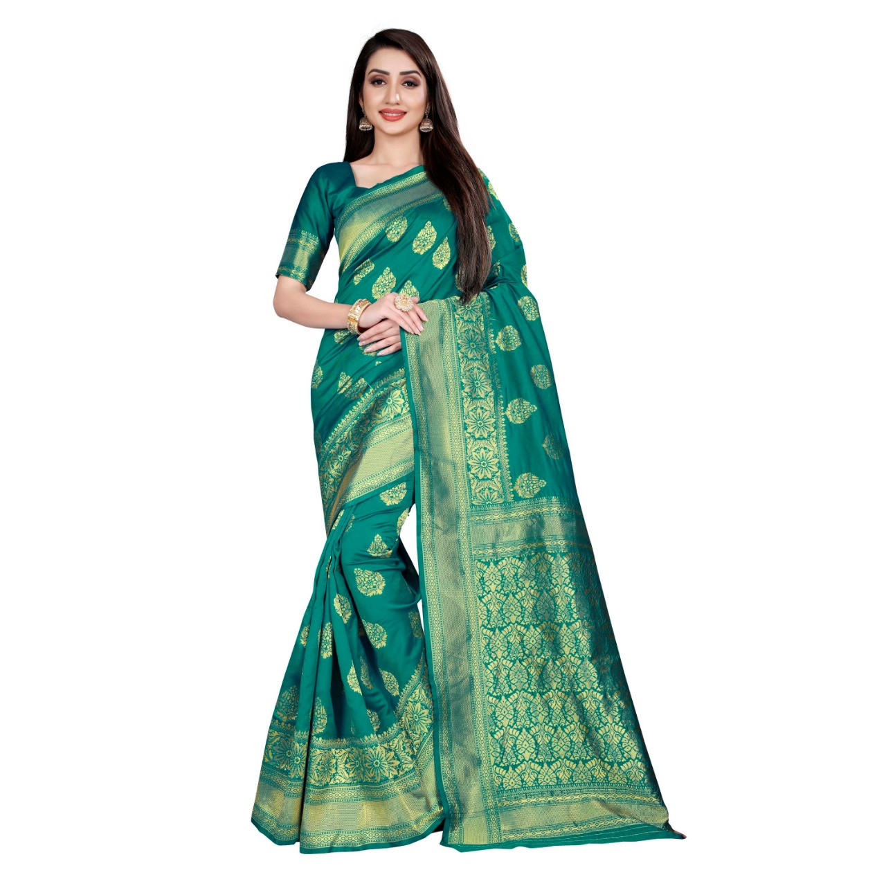 Graceful Jacquard Blue Colored Party wear saree with Blouse