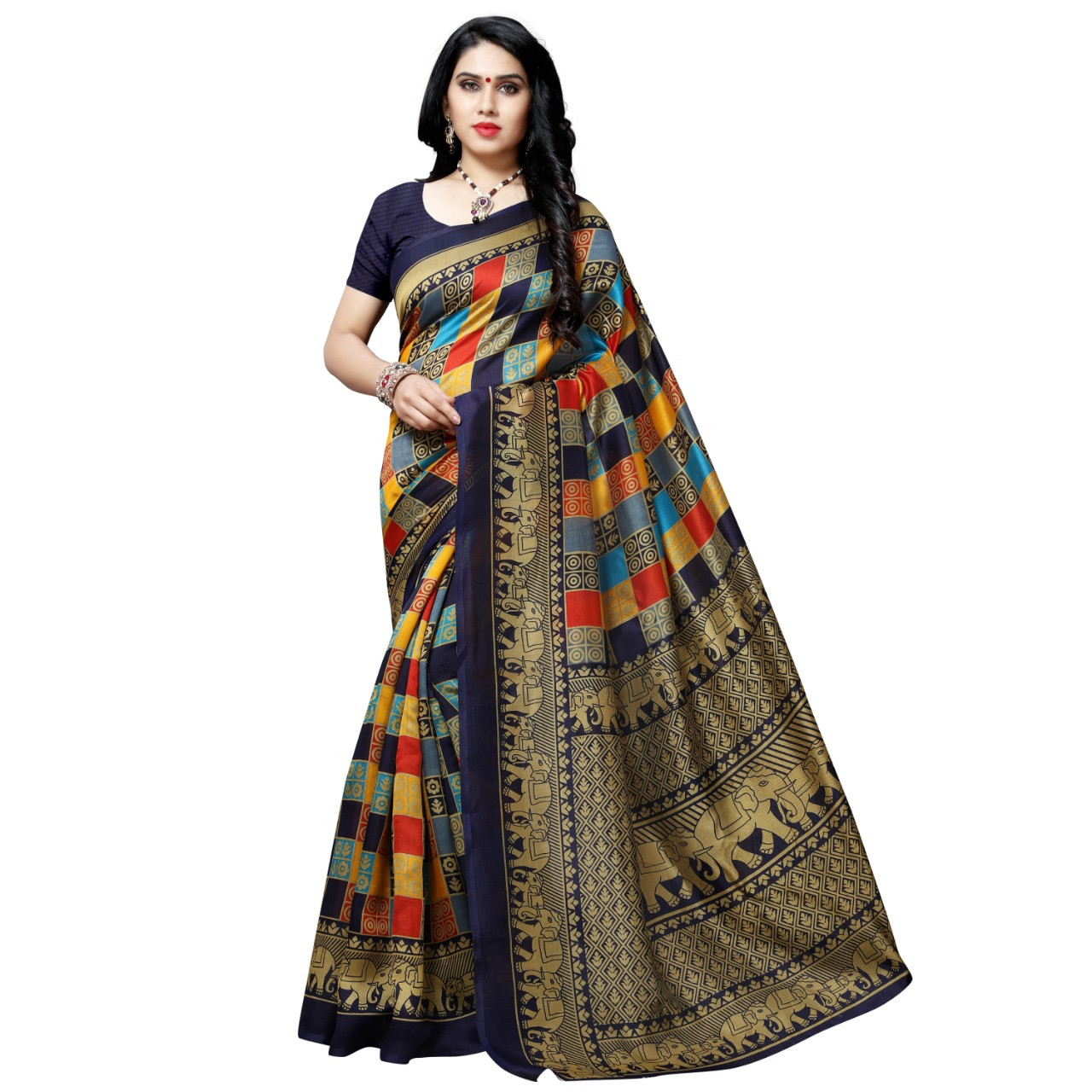 New Peaceful Litchi Fabric Black Party Wear Saree