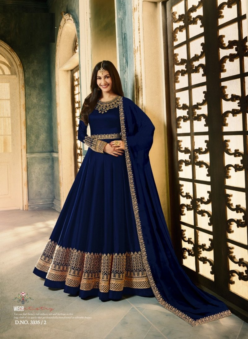 Delightful Blue color Embroidery Party Wear Suit