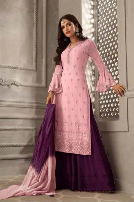 Preferable Leman Green Color Georgette With Embroidery Party Wear Suit