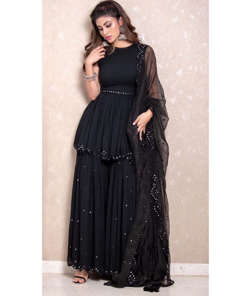 Mouni Roy New Black Color Bollywood Sharara Suit