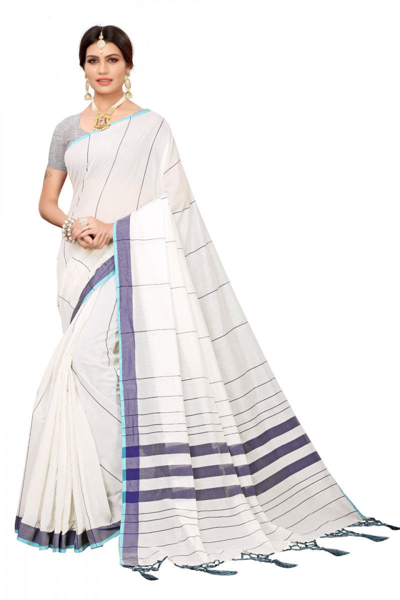 Daily wear white and blue colour Linen saree