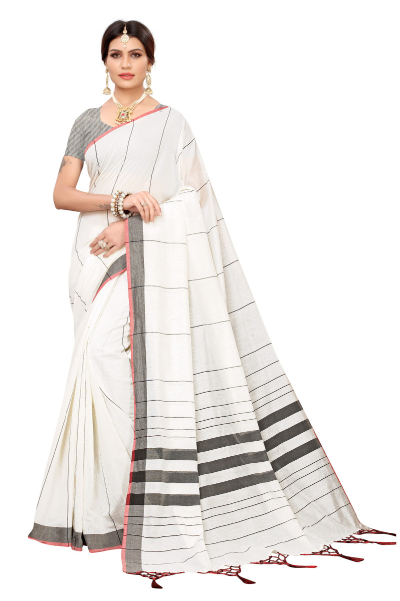 Daily Wear White And Gray Color Linen Saree