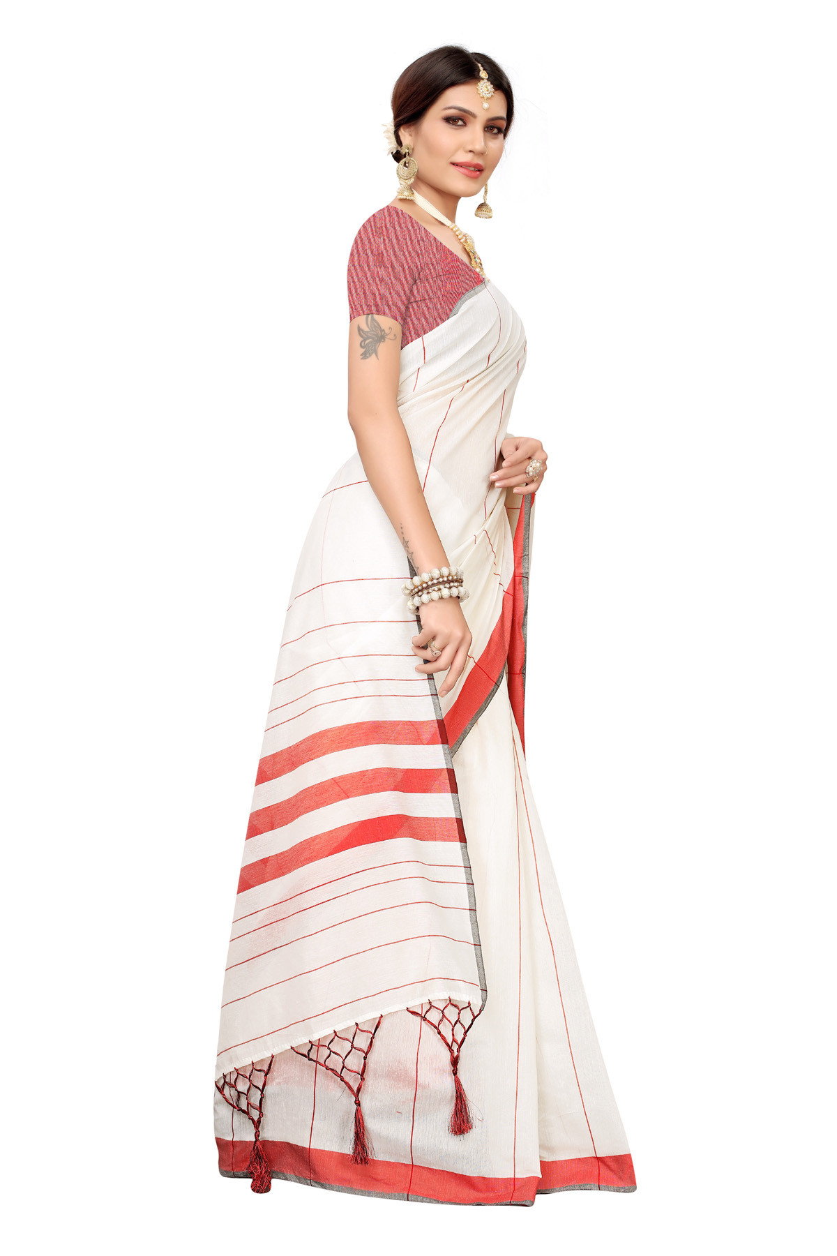 Daily wear white and red colour linen saree