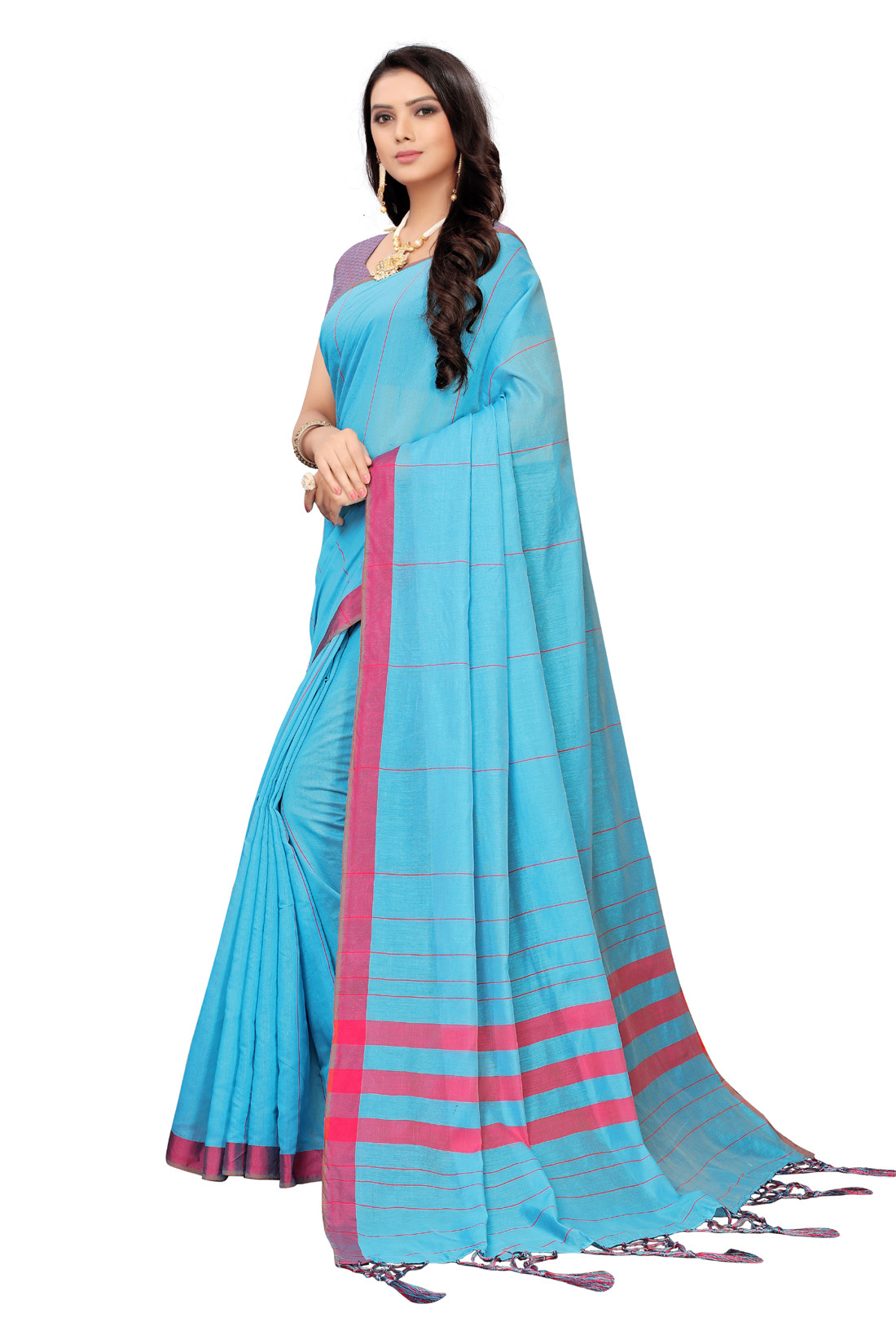 Daily Wear Maroon And Sky Blue Color Linen Saree
