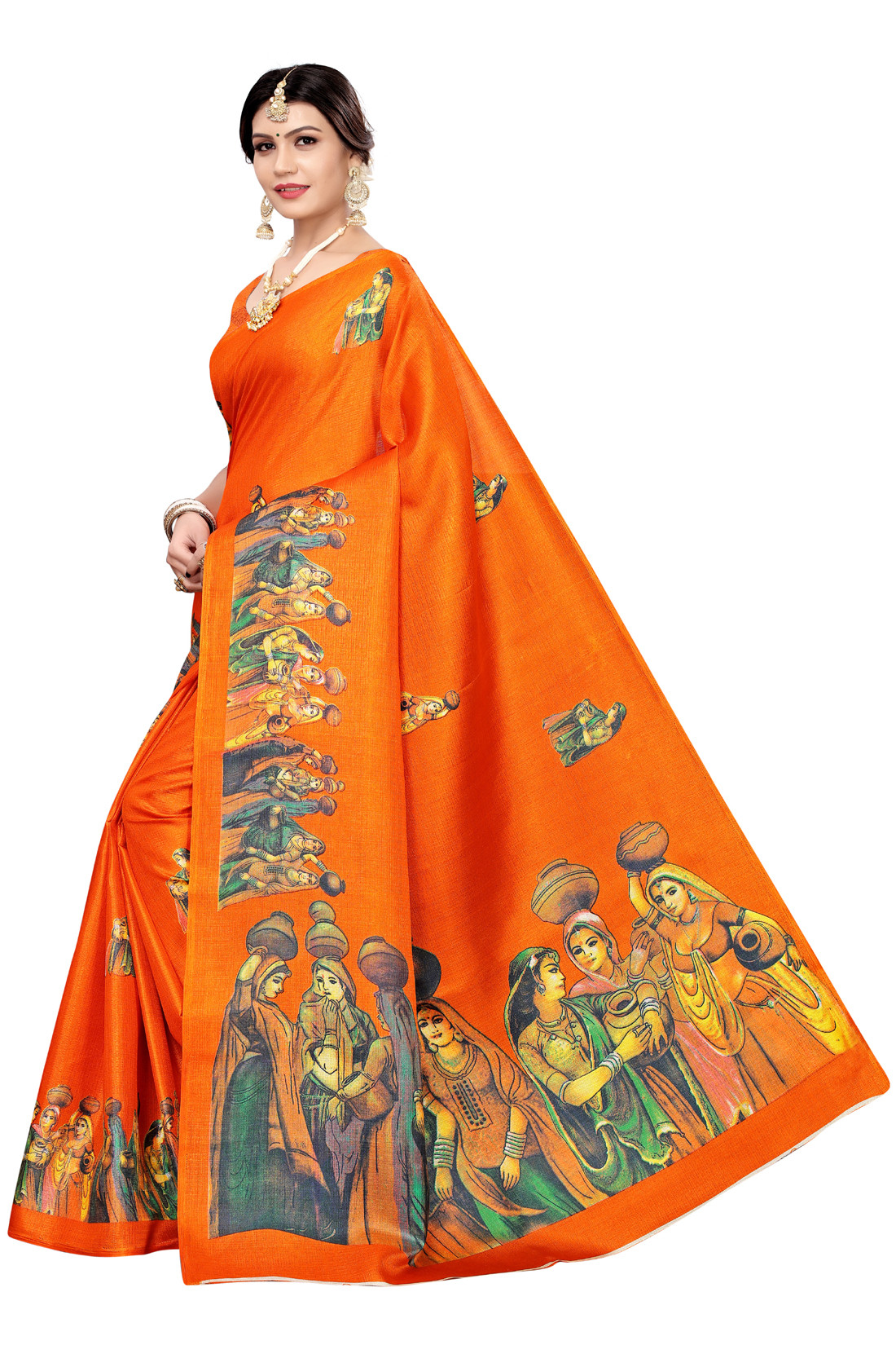 Festive Wear And Daily Wear Printed Khadi Saree