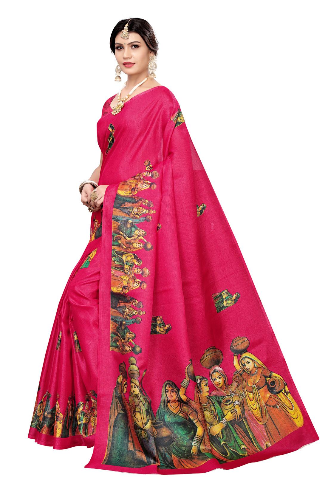 Festive Wear And Daily Wear Printed Khadi Saree