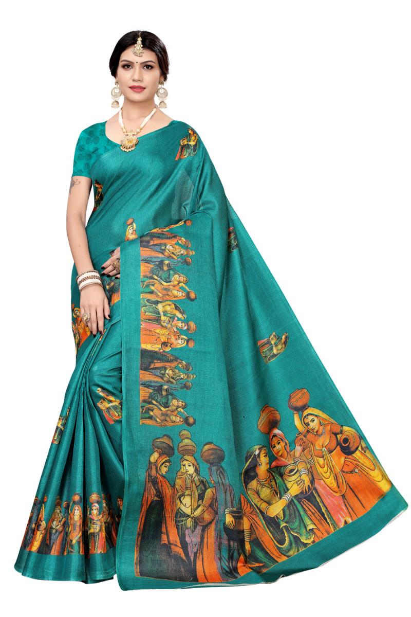 Festive Wear and daily wear printed khadi  silk saree