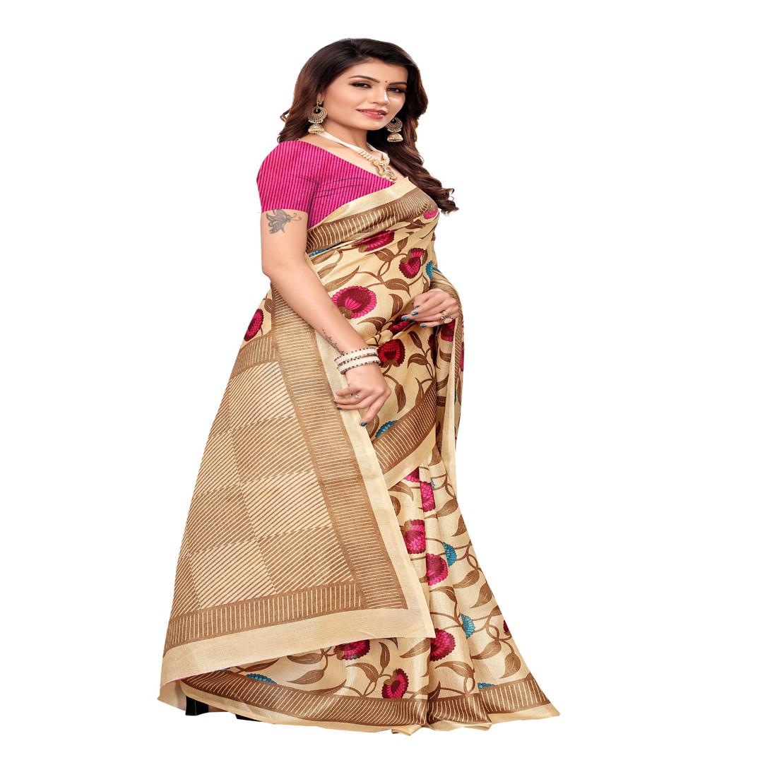 Casual  and designer  chiku and pink  printed khadi silk saree