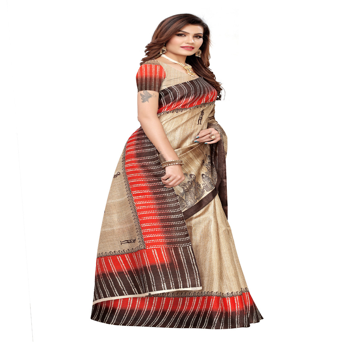 Fastive ware and Daily ware printed  Khadi saree