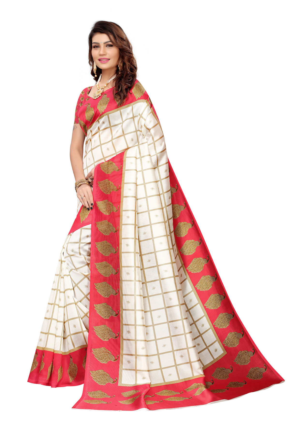 Designer Red & Off White Party Wear Denting Saree