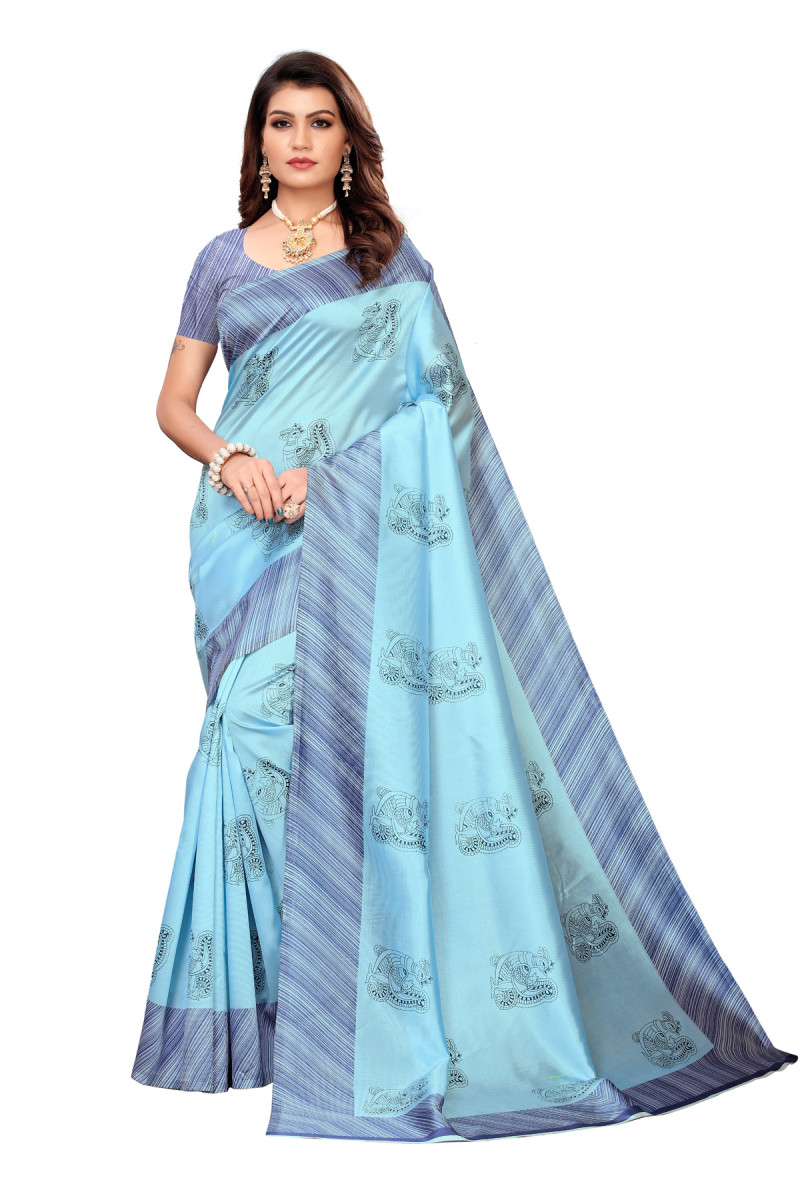 Designer Sky Party wear Denting saree