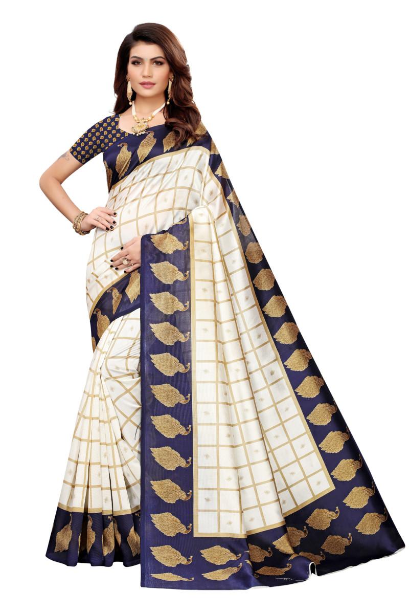 Designer Blue&Off White party wear Denting saree.