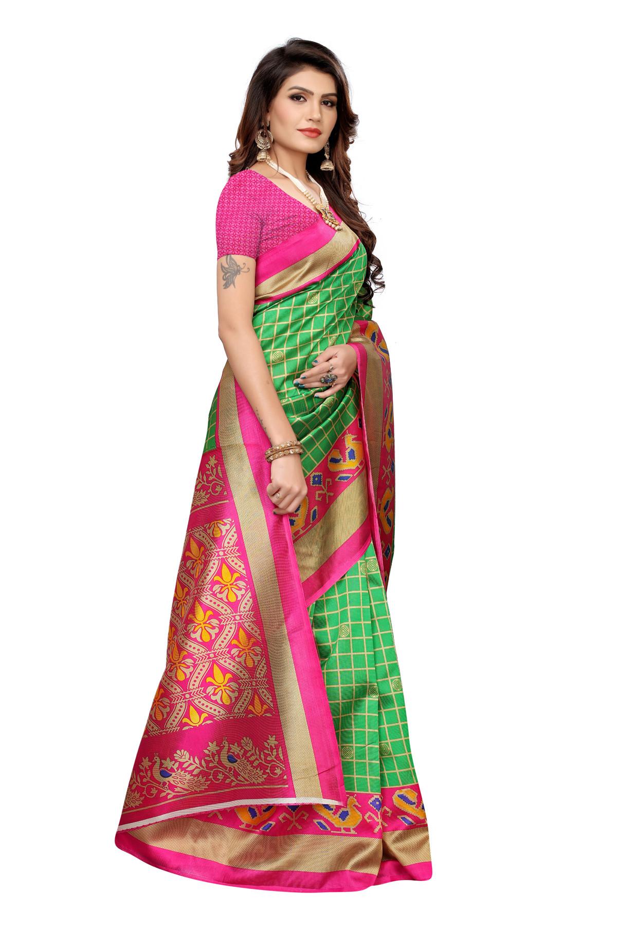 Designer Pink&Green Party  wear Denting saree