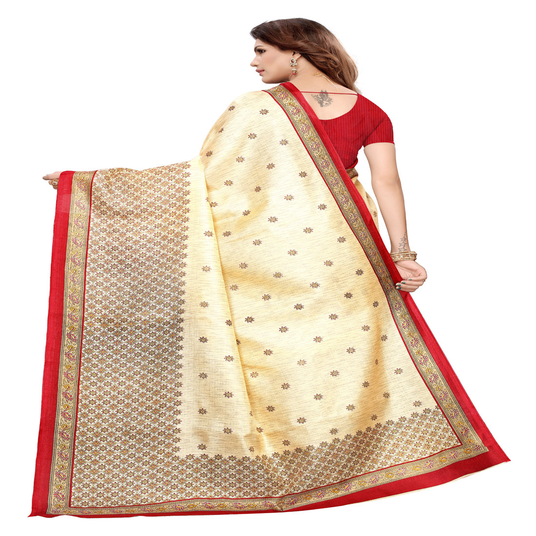Designer Khadi Silk red Border Chiku Saree