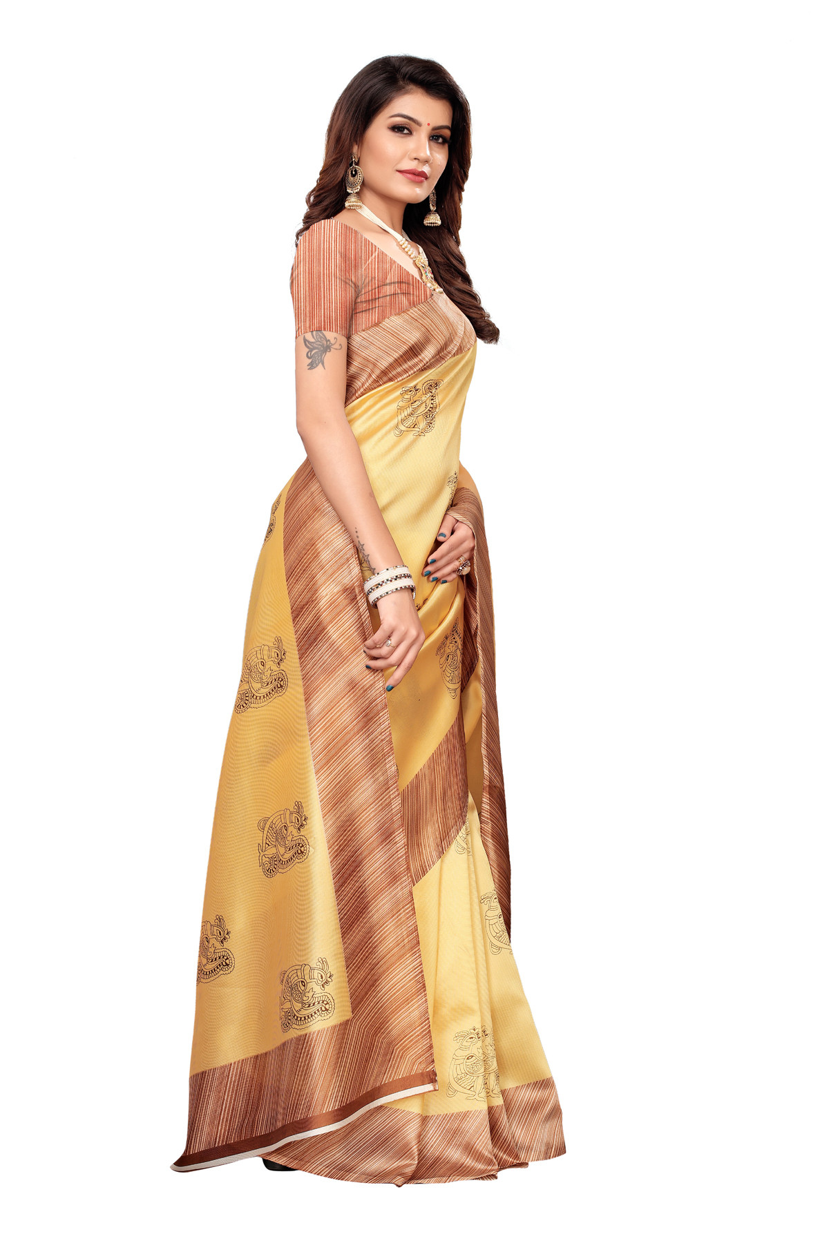 Designer Light Yellow Party wear Denting saree