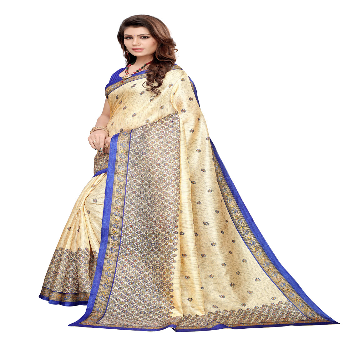 Designer Khadi Silk Blue Border Chiku Saree