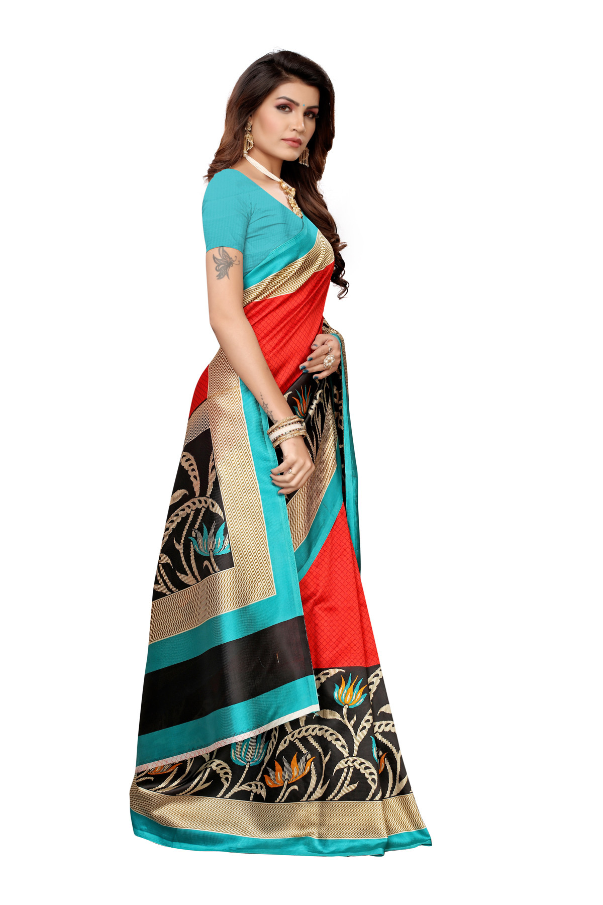Designer Sky & Red Party wear Denting saree
