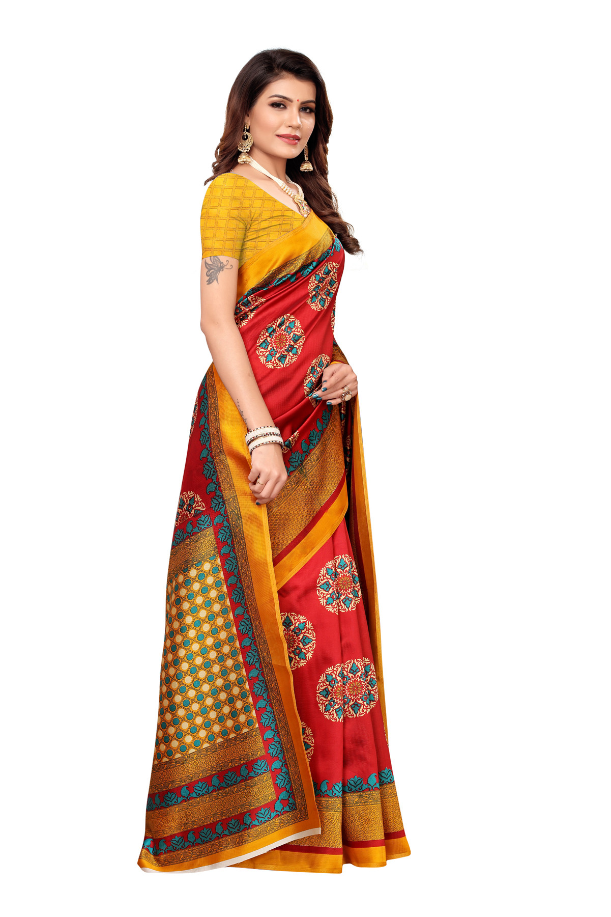 Designer Red & Yellow Party Wear Denting Saree