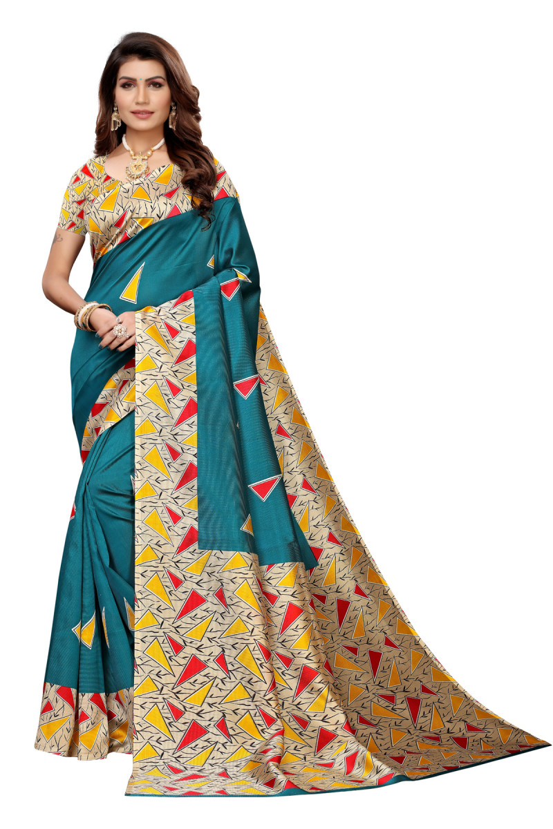 Designer Sky  Blue Party wear Denting saree