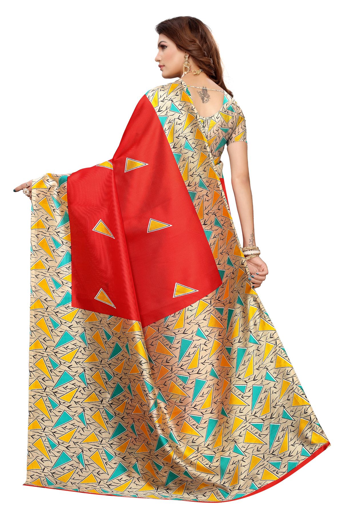 Designer Red Party wear Denting saree