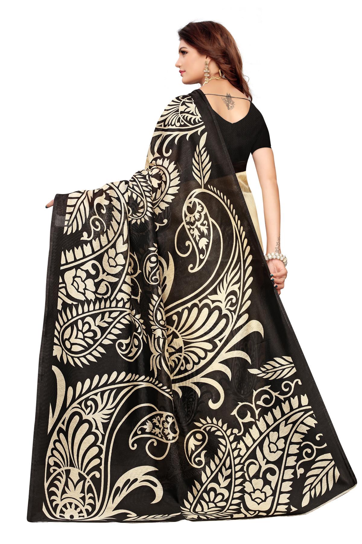 Designer Black & Cream Party Wear Denting Saree