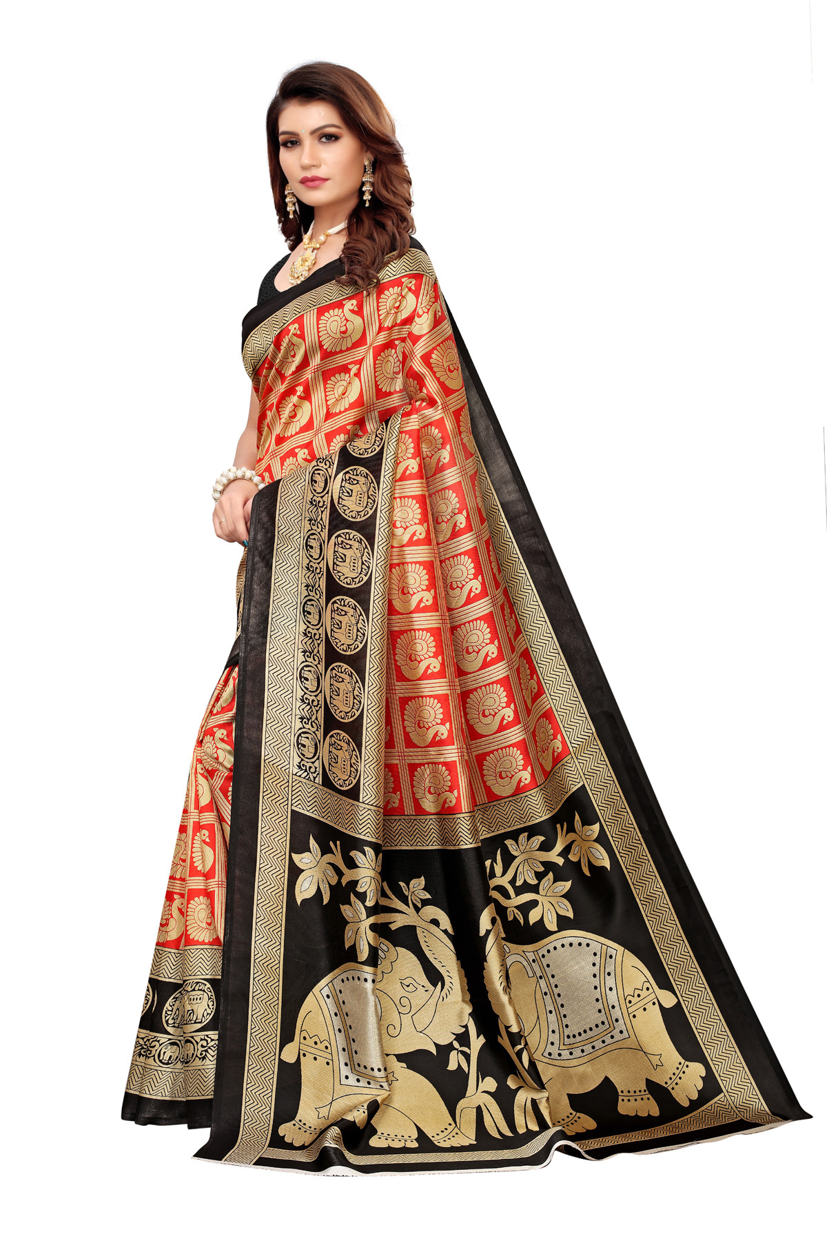 Designer Orange & Black party wear Denting saree