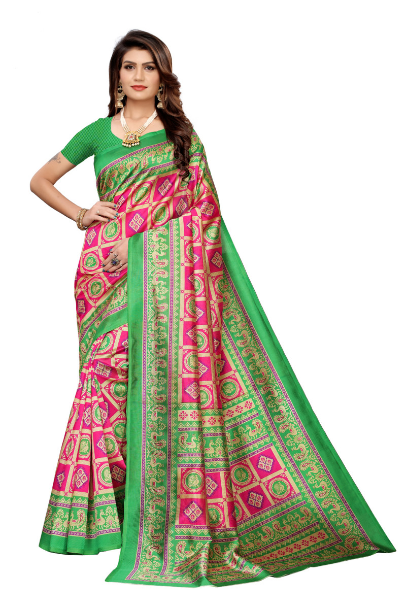 Designer Green & Red Party Wear Denting Saree