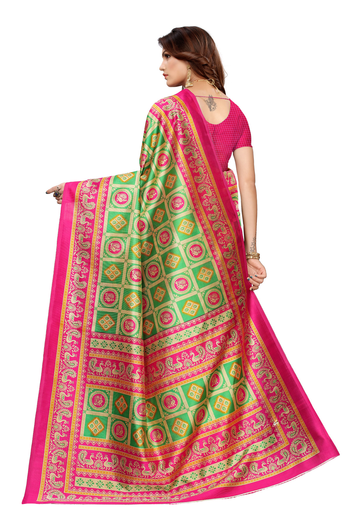 Designer Green & Pink Party wear Denting saree