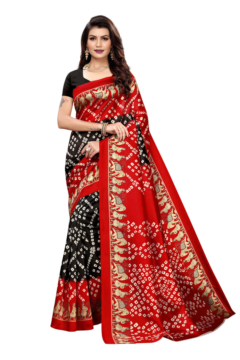 Latest Red&Black Party wear Denting saree