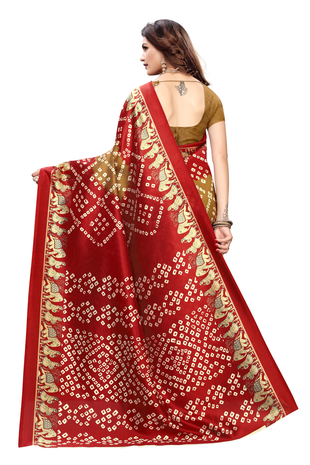 Latest Golden&Maroon Party wear Denting saree