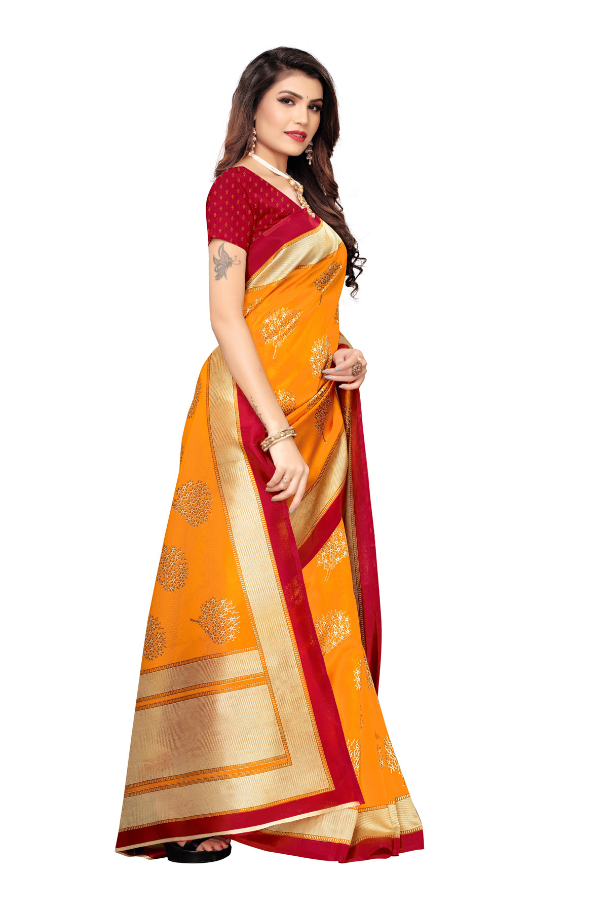 Latest Orange & Red Party Wear Denting Saree