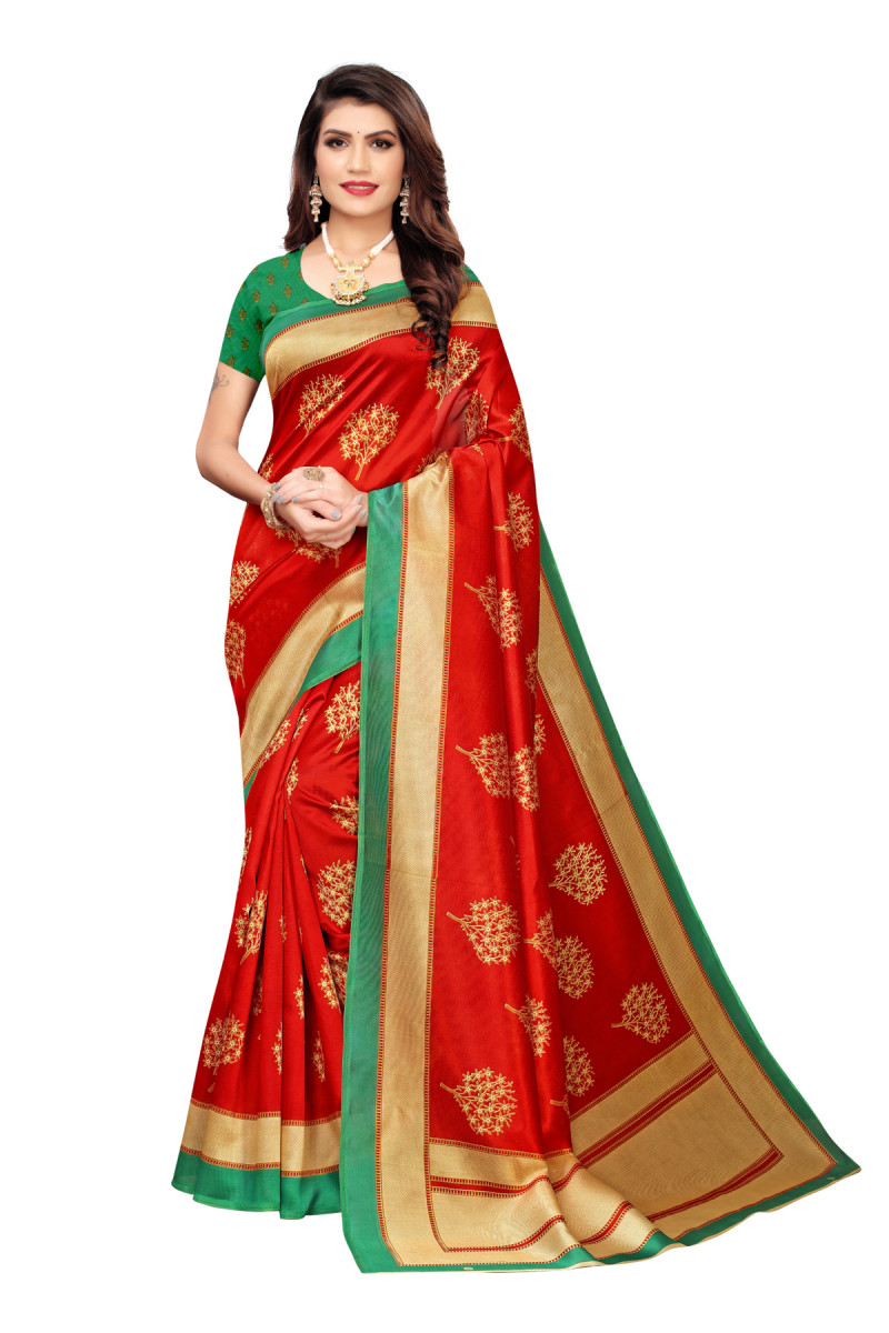 Latest Green & Red Party wear Denting saree
