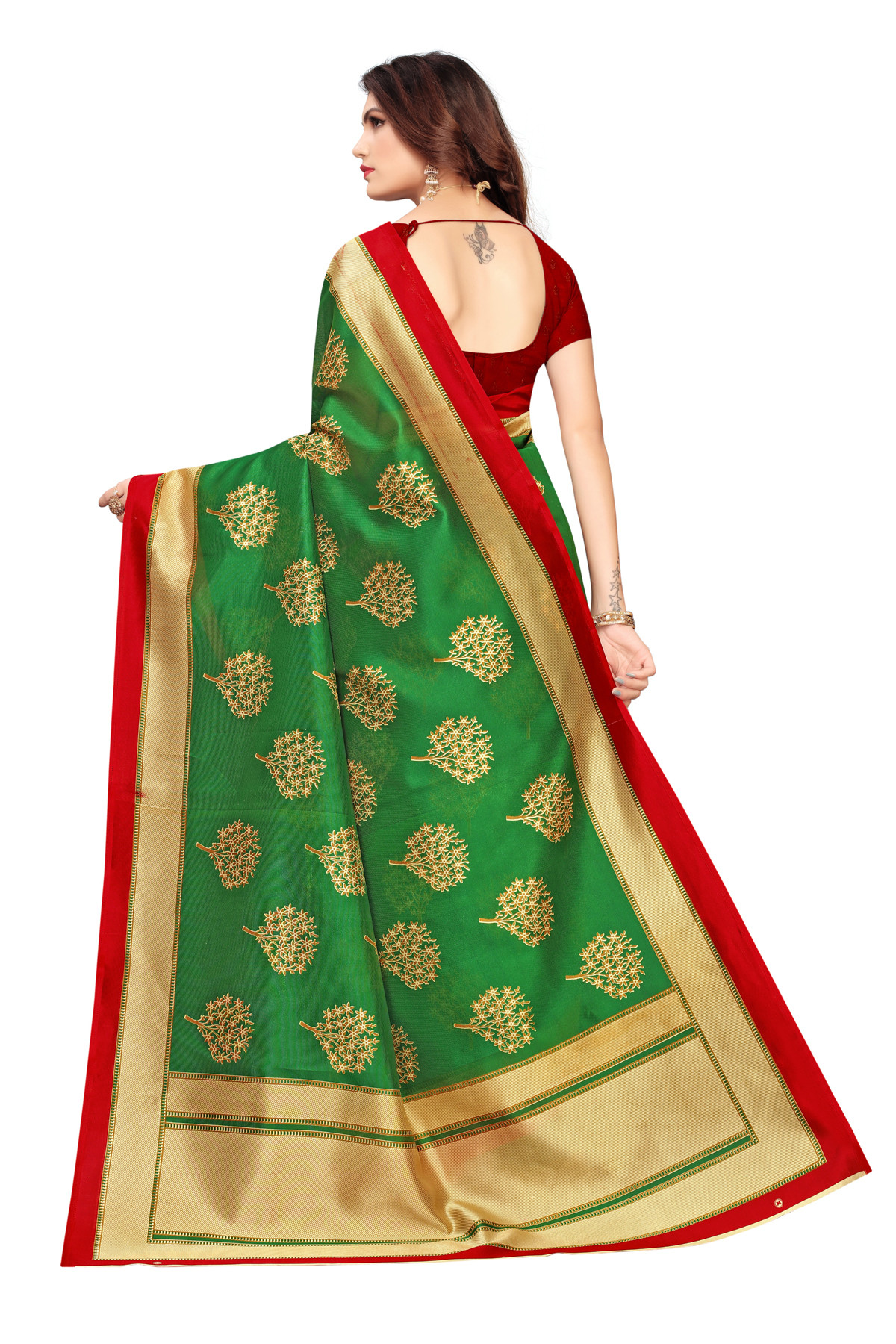 Latest Green & Maroon Party wear Denting saree