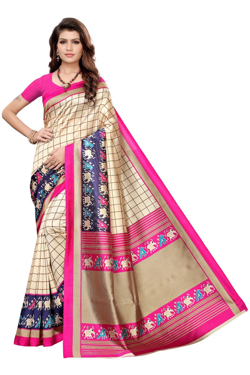 Designer Pink & Cream Party wear Denting saree