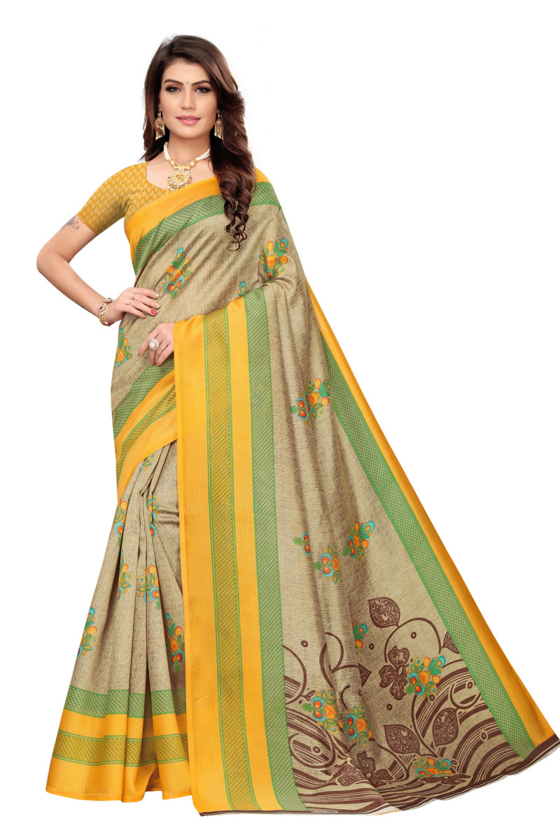 Latest Yellow & Brown Party wear Denting saree
