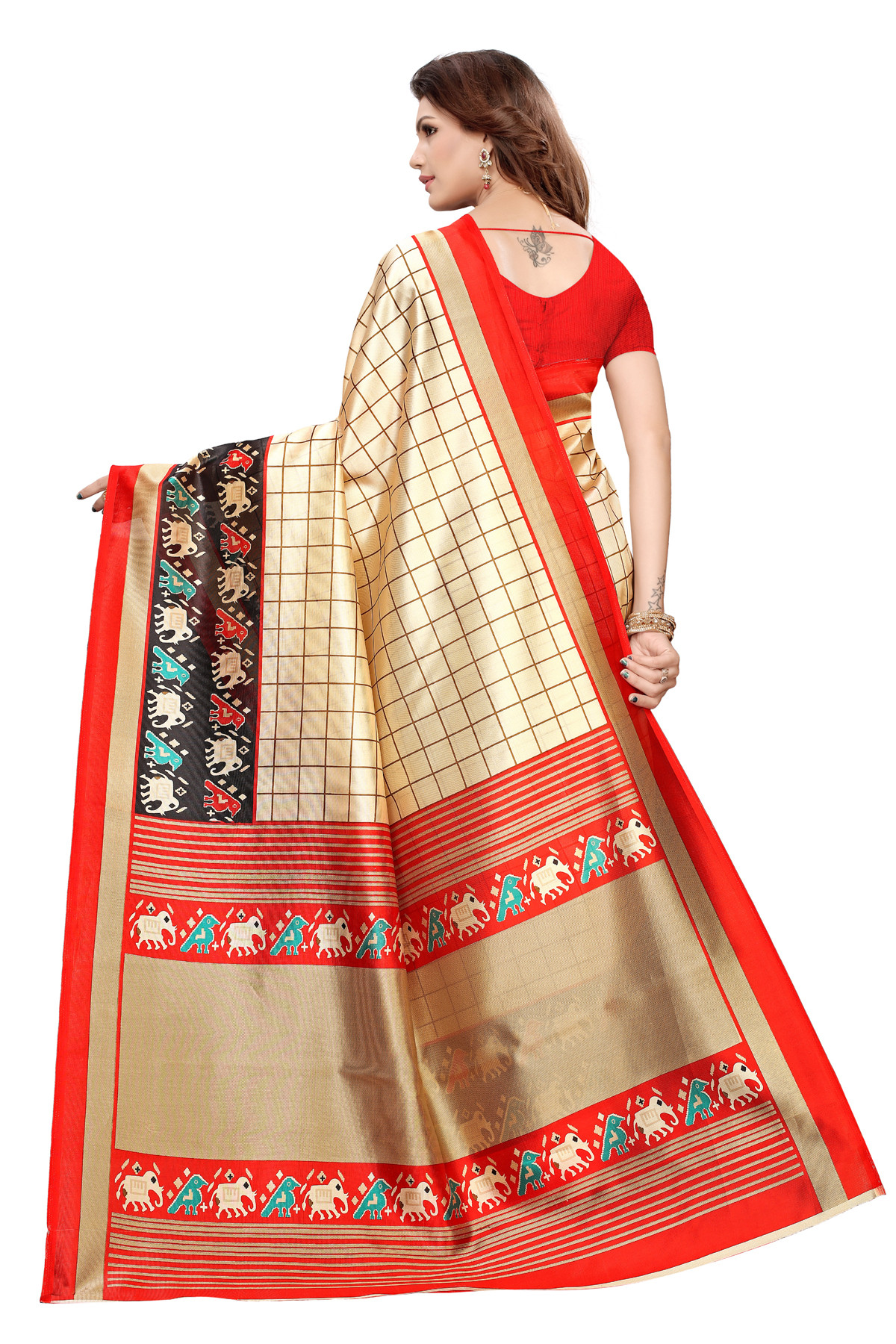 Designer Red & Cream Party wear Denting saree