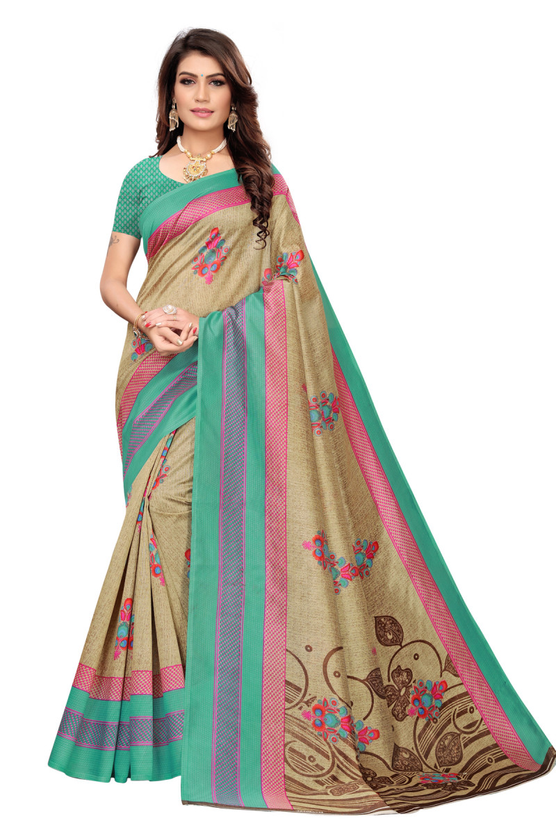 Latest Green & Brown Party wear Denting saree