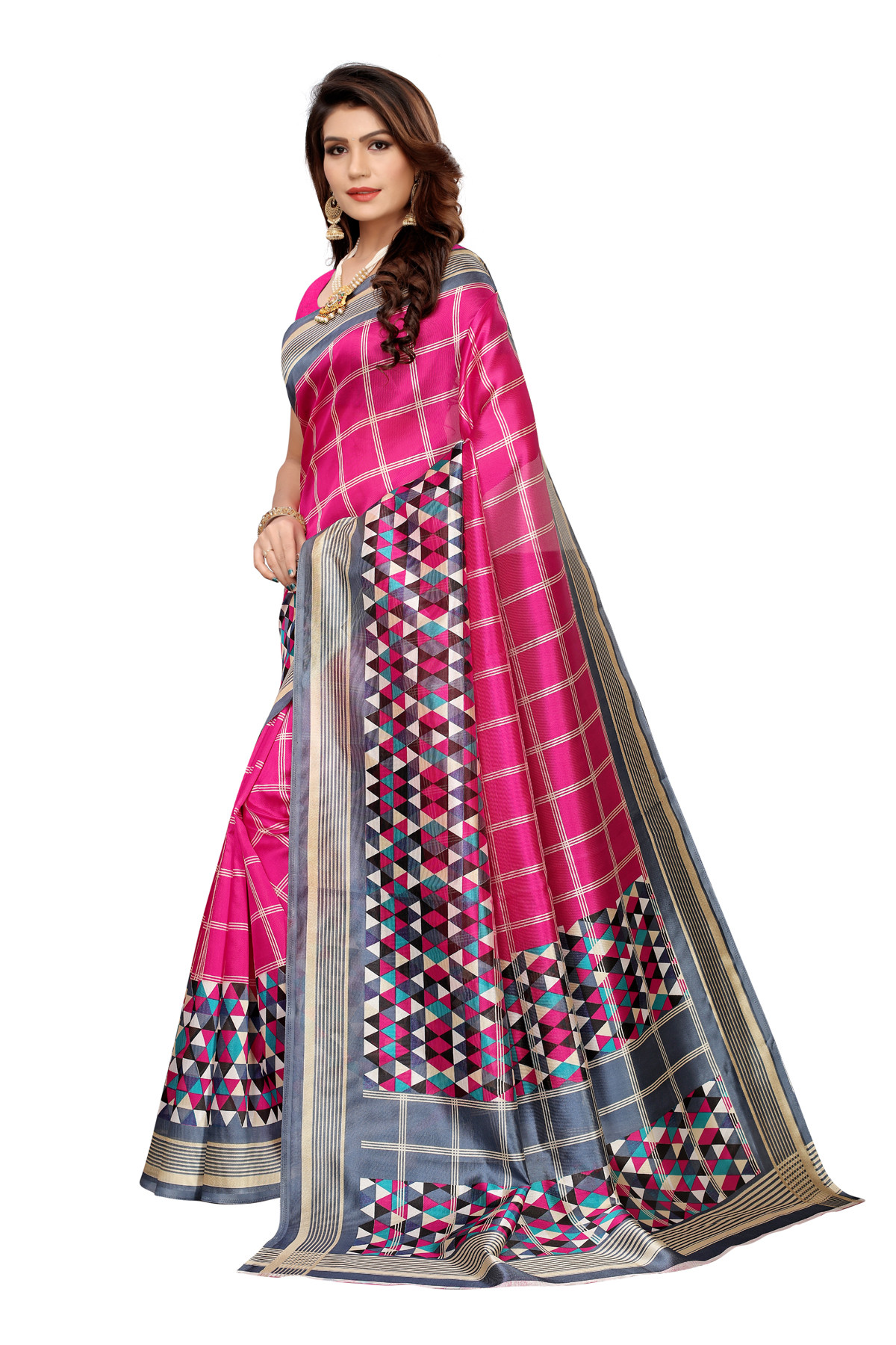 Designer Pink Party wear Denting saree