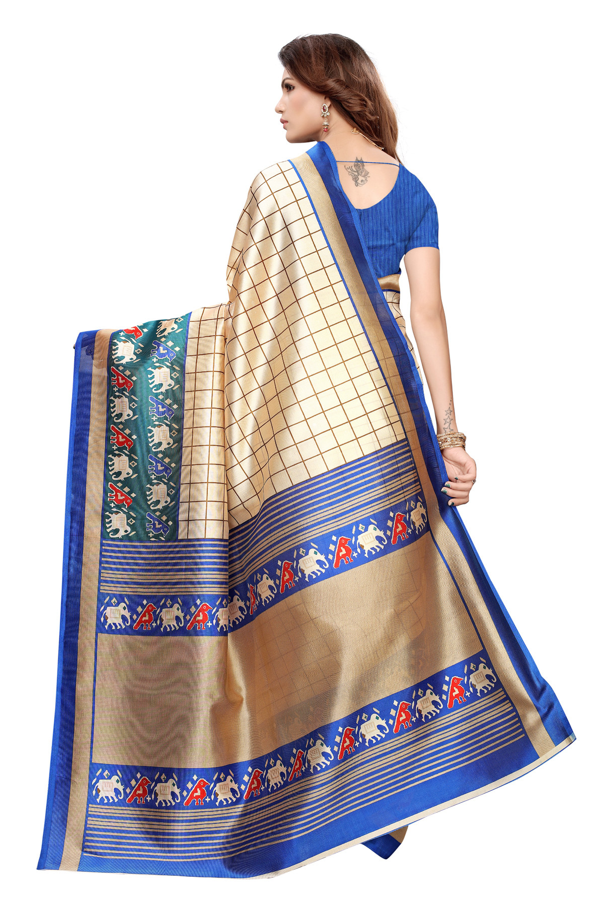 Designer Blue & Cream Party wear Denting saree