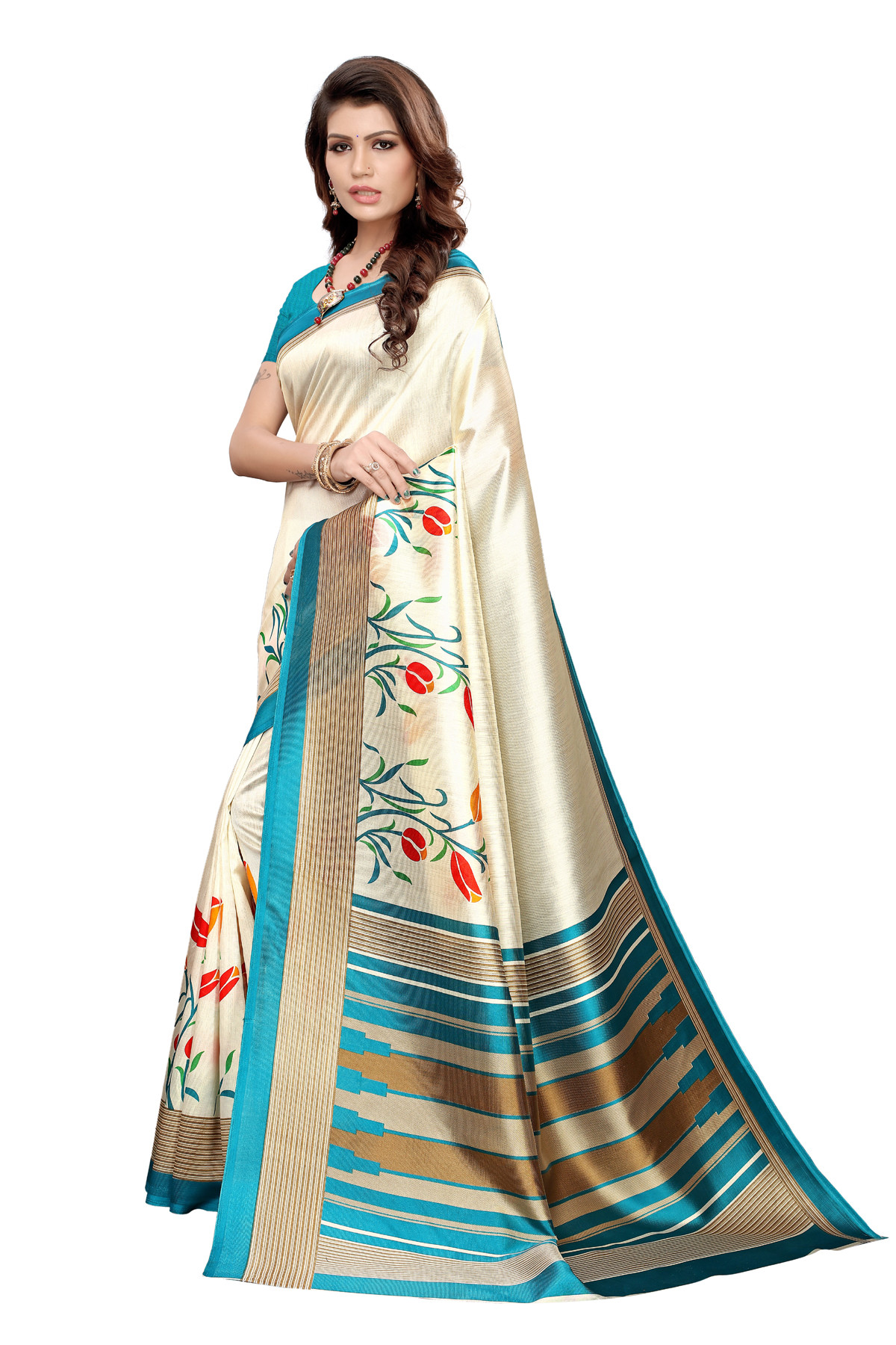 Latest Sky & Cream Party wear Denting saree