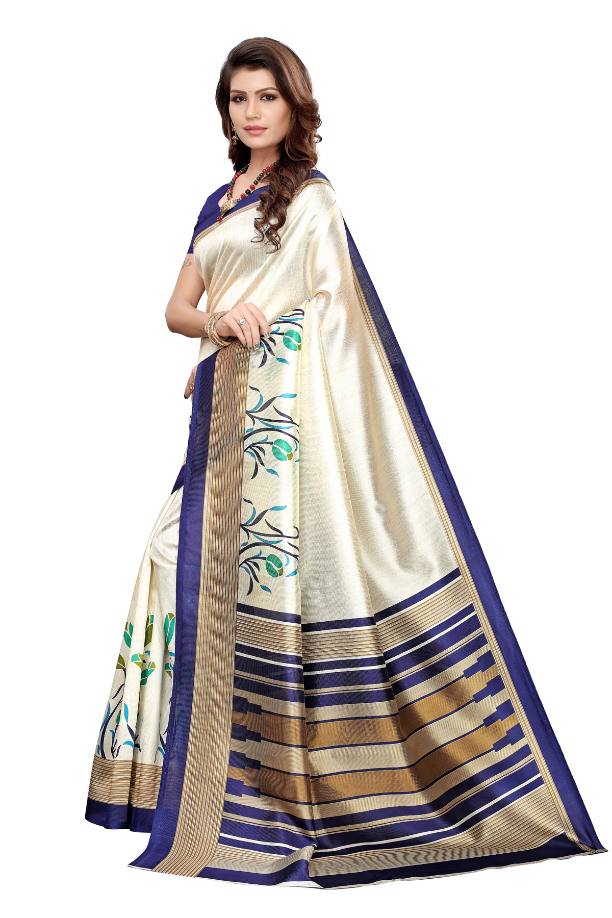 Latest Blue And Cream Party wear  Denting saree