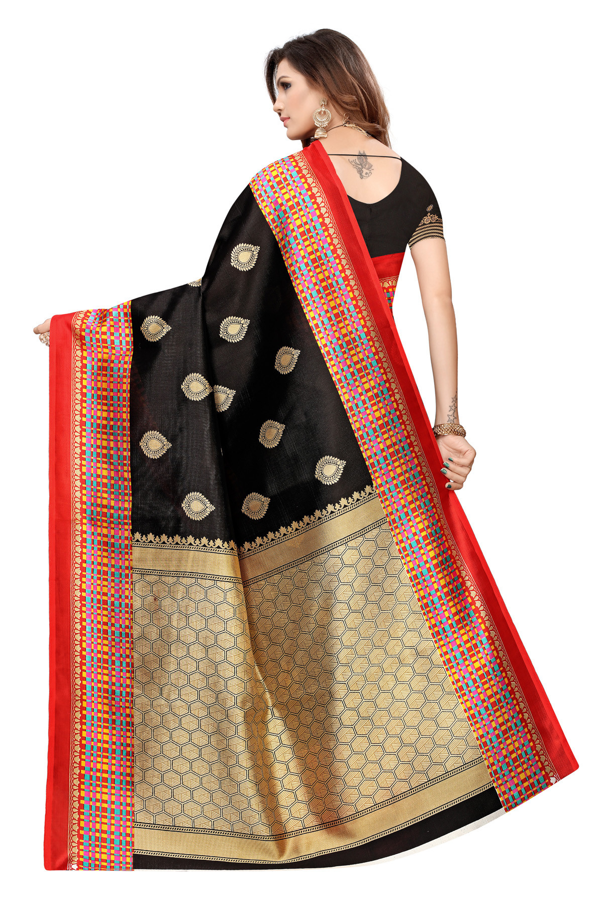 Latest Black Party wear Denting  saree