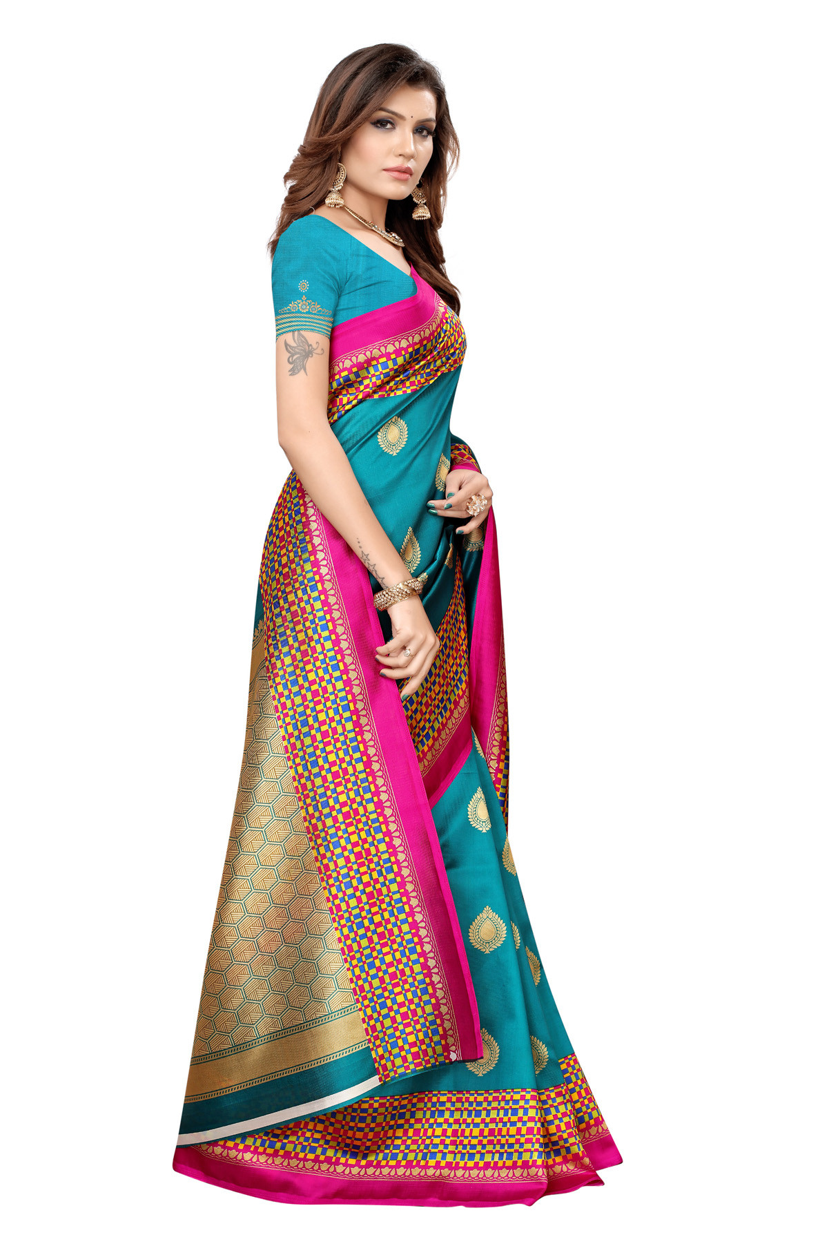 Latest Cyan Party wear Denting saree