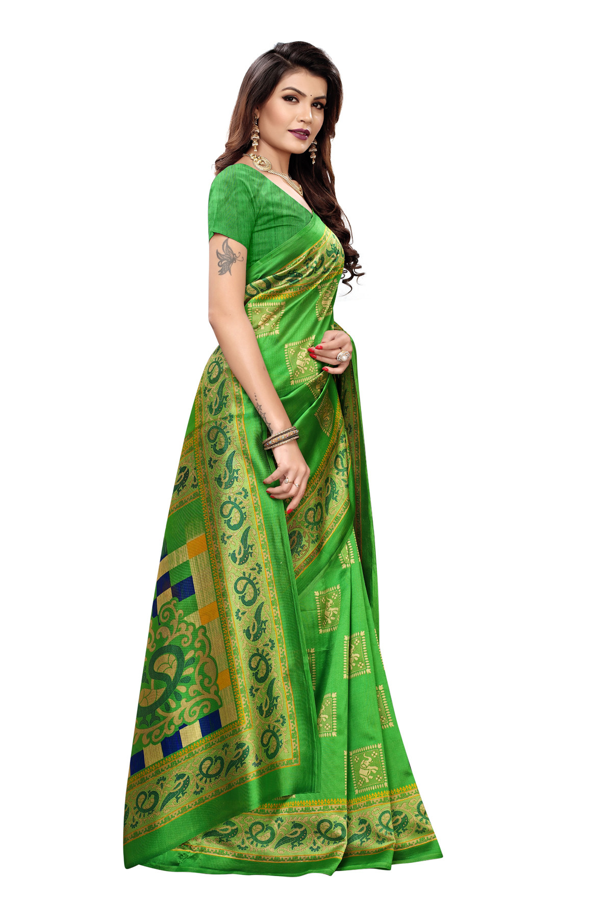 Latest  Green Party wear Denting saree