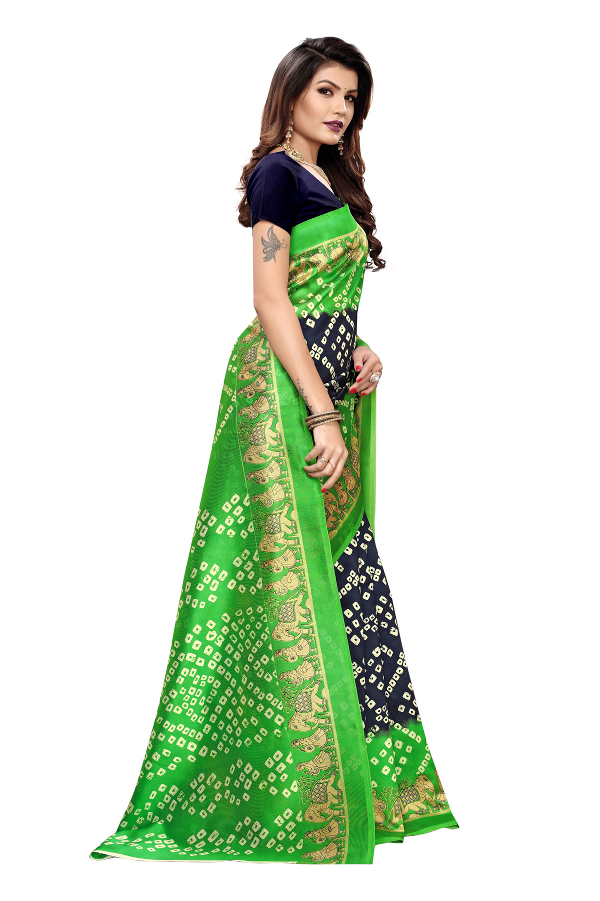 Latest Blue & Green Party wear Denting saree