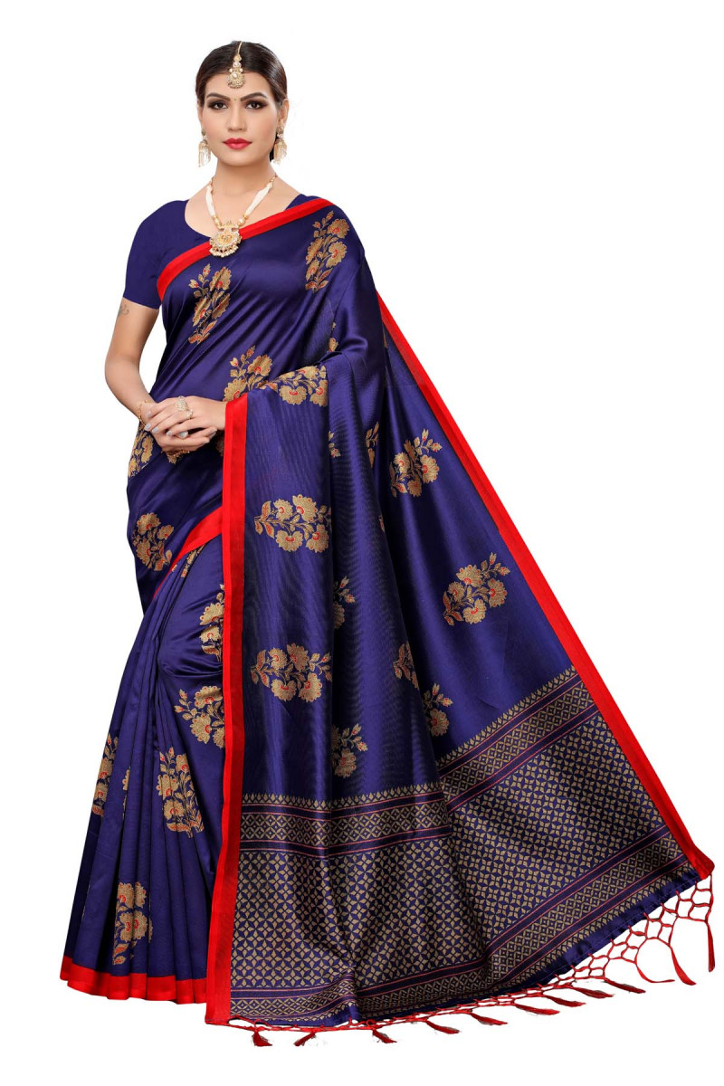 Dressing Design  with Lovely Navy Blue Color Festive Wear Maysor  Saree