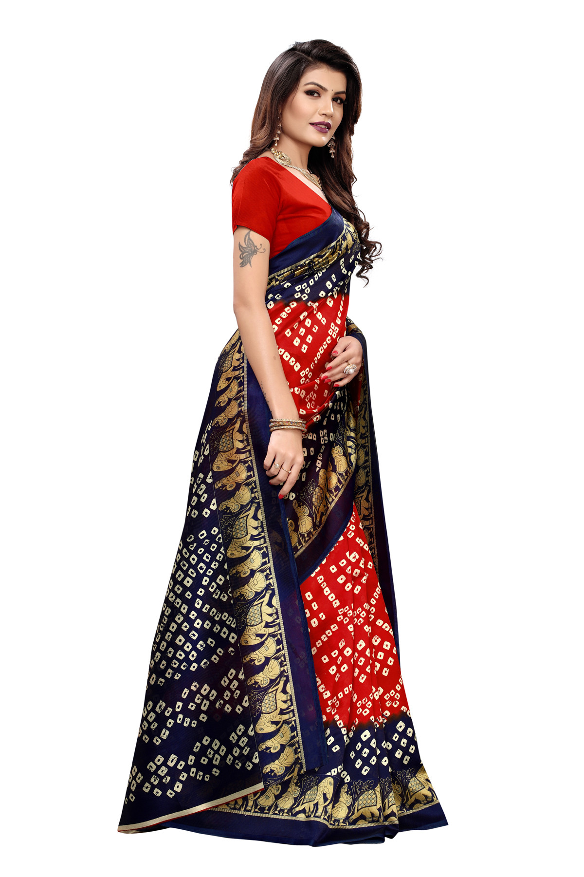 Latest Red & Blue Party wear Denting saree